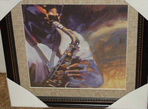 Saxophone Jazz Musician Framed Picture Wall Decor