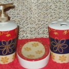 3 Pc Floral Bath Accessories Set Red Navy Gold