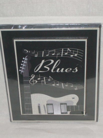 Blues music plaque with guitar black wood