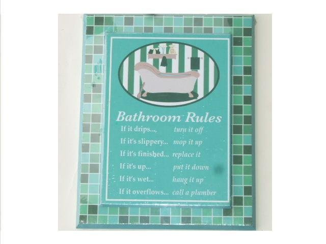 Bath Tub Wall Decor Bathroom Rules Plaque