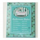 Bath Tub Wall Decor Bathroom Rules Plaque