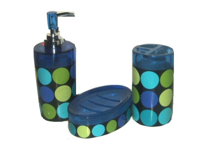 contemporary circles dots blue green bath accessories set