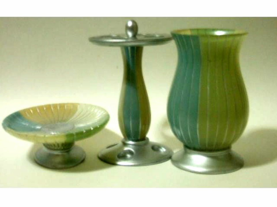 Summer stripe blue green silver bath accessories set for Blue and silver bathroom accessories