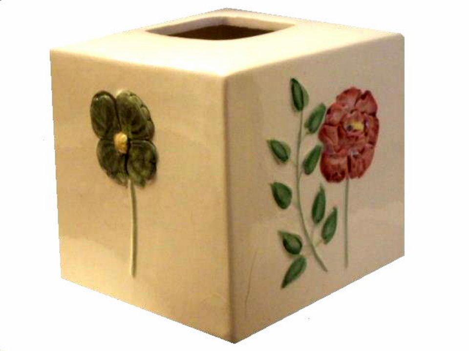 Floral Tissue Box Cover Ceramic Bath Decor