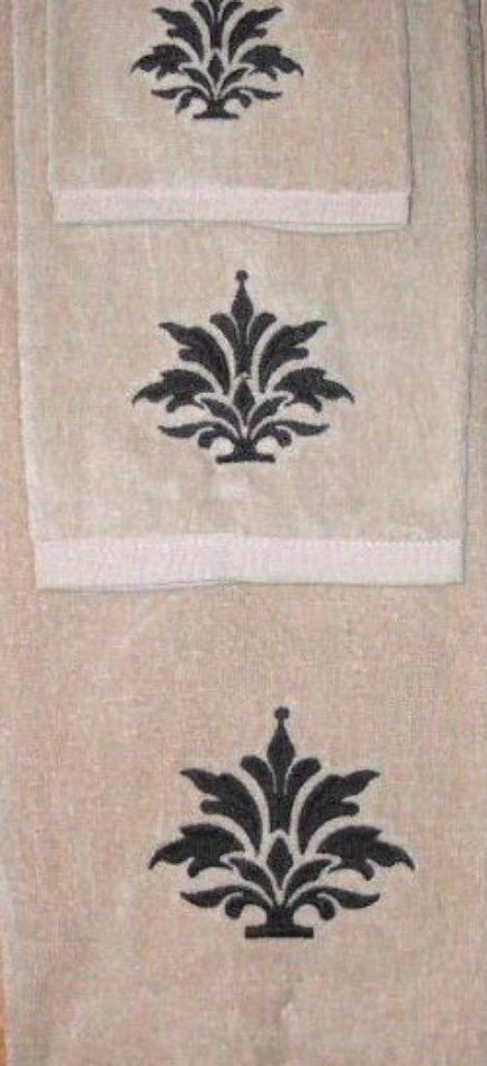 Medallion Bath Towel Set Embroidered Velour Towels and Wash Cloth