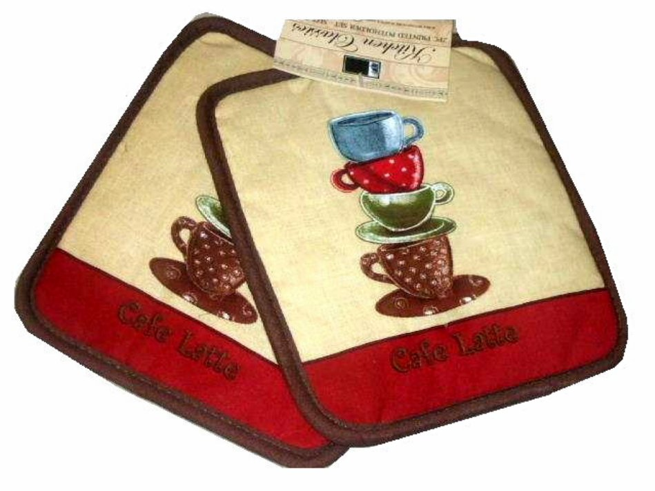 Cafe latte coffee themed pot holders kitchen linens for Cafe latte decor