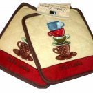 Cafe Latte Coffee Themed Pot Holders Kitchen Linens
