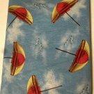 Nautical Beach Umbrellas Seagulls Tablecloth Round