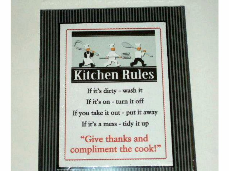 Chefs Plaque Kitchen Rules Chef Wall Decor