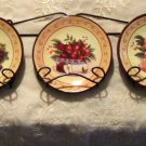 Grapes Apples and Pears Fruit Wall Plates and Rack
