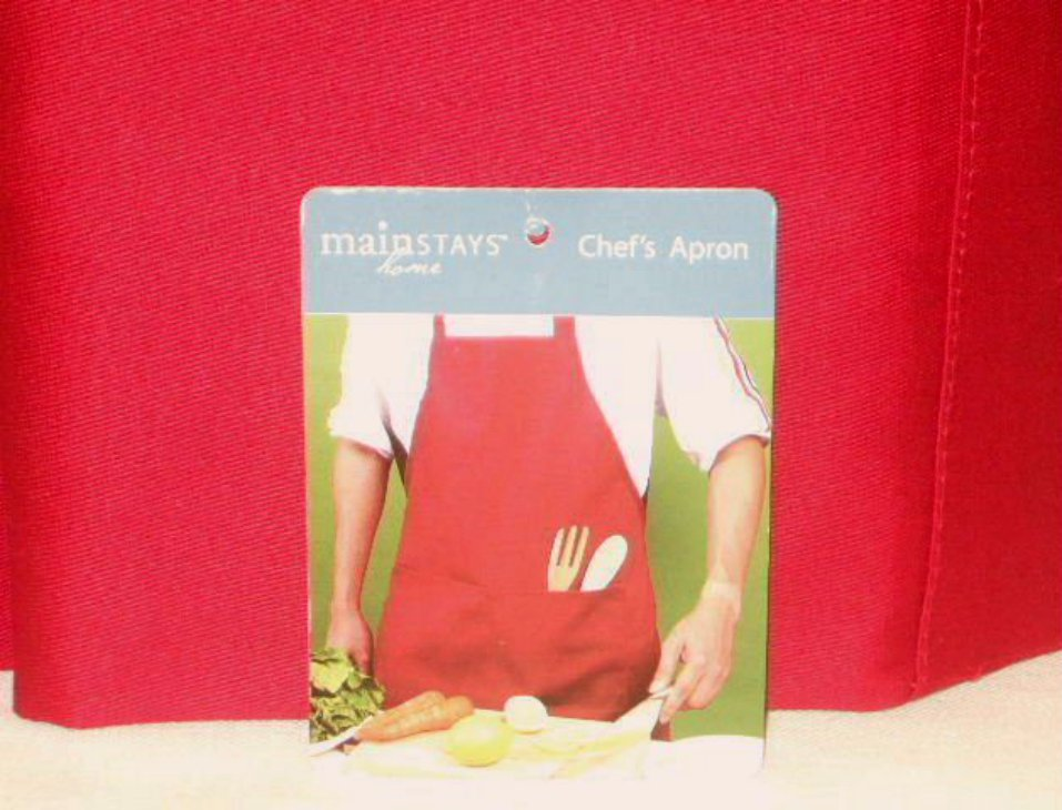 Red Cloth Chefs Apron Unisex Bibbed Fabric