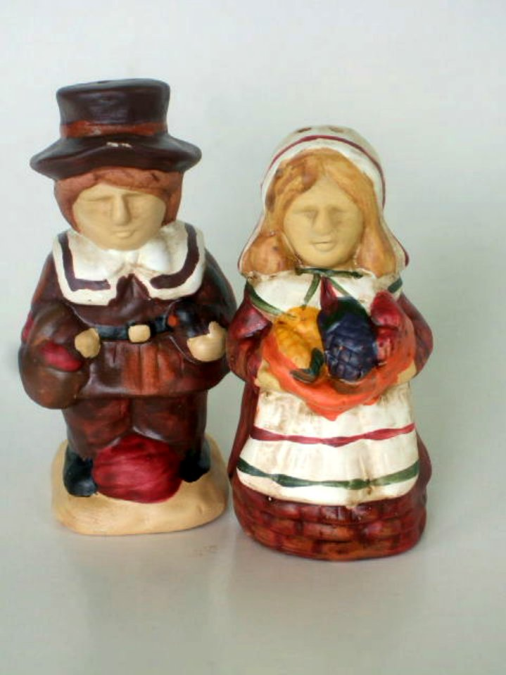 Autumn Thanksgiving Shakers Rustic Ceramic Pilgrims Figurines