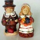 Autumn Thanksgiving Shakers Rustic Ceramic Pilgrims Figurines