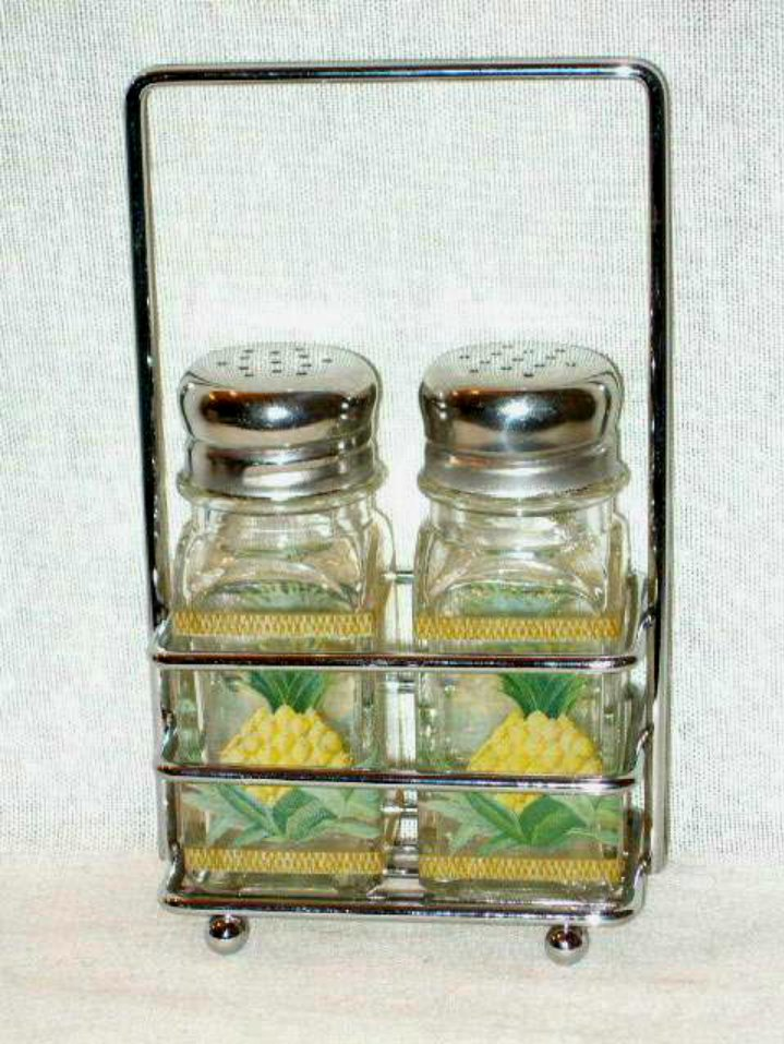 Pineapple Salt and Pepper Shakers with Chrome Caddy Tropical Kitchen Decor