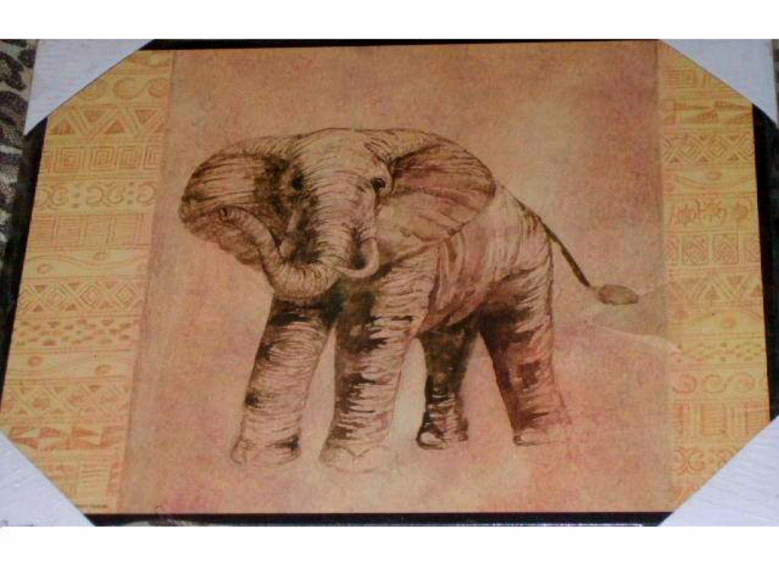 African Safari Elephant Wood Wall Plaque Art