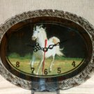 White Stallion Horse Clock Mirror and Lights
