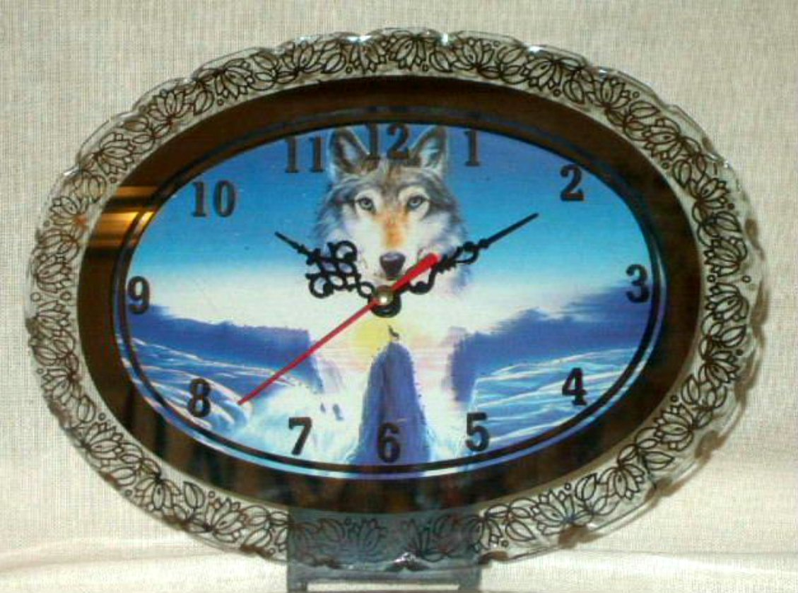 Wolf Desk Clock Mirror and Lights