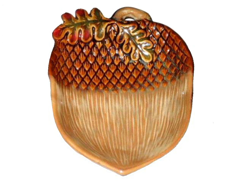 Ceramic Autumn Acorn Spoon Rest Cabin Lodge Decor