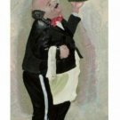 Sculpted 3D Fat Chef or Waiter with Wine Wall Tile