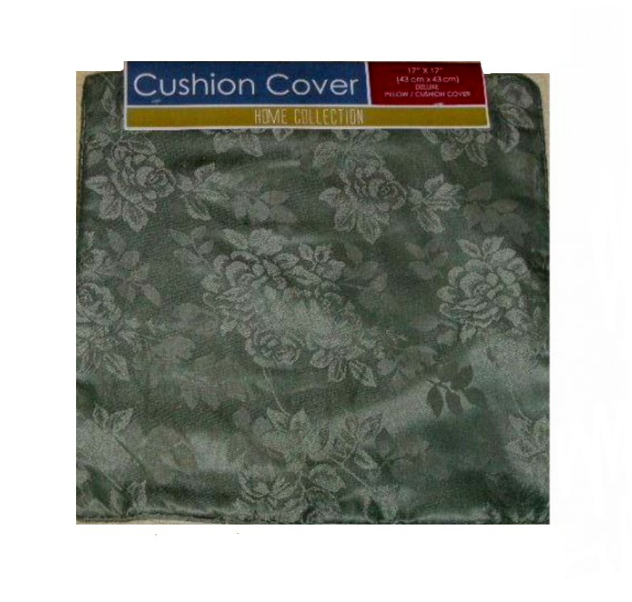 Green Pillow Covers Silky Floral Roses Set of Two