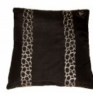 Brown Feather Down Pillow Embroidered Animal Print  Design