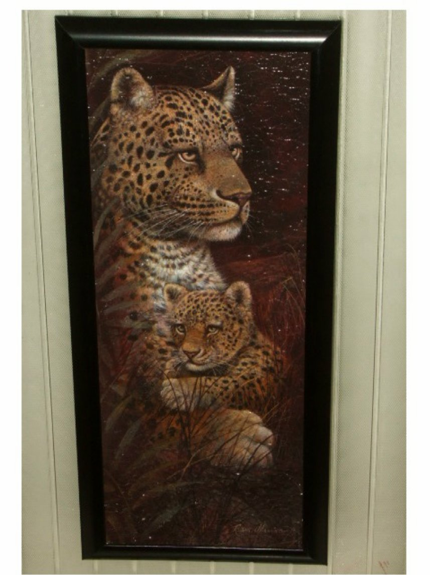 African Safari Leopard Framed Glass Picture Wall Art