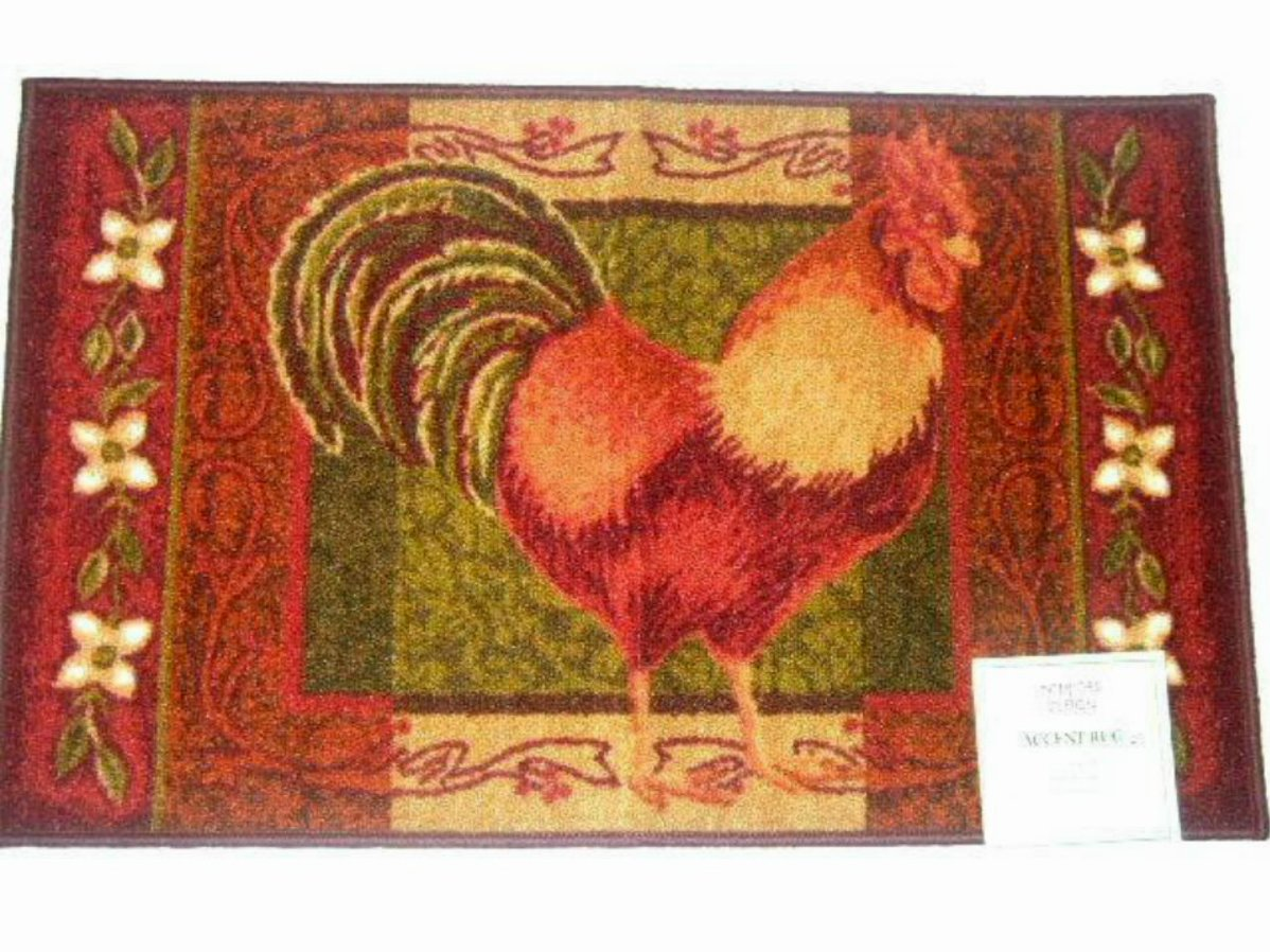 Country Rooster Themed Kitchen Rug