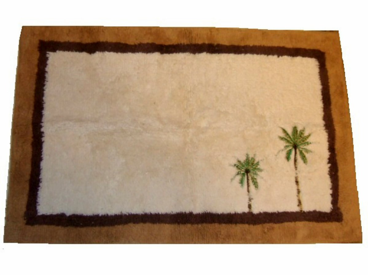 embroidered tropical palm trees bath mat rug