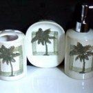 Tropical palm trees bath accessories set soap dish lotion dispenser toothbrush holder