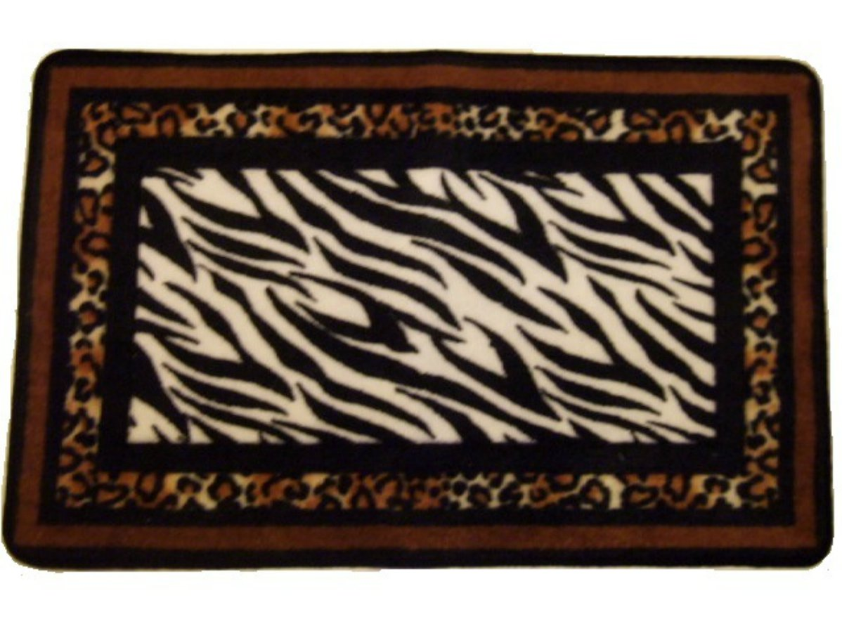 Zebra Stripes Leopard Print Bath Mat Animal Print Rug