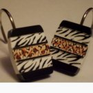 Zebra Stripes Leopard Print Shower Curtain Hooks