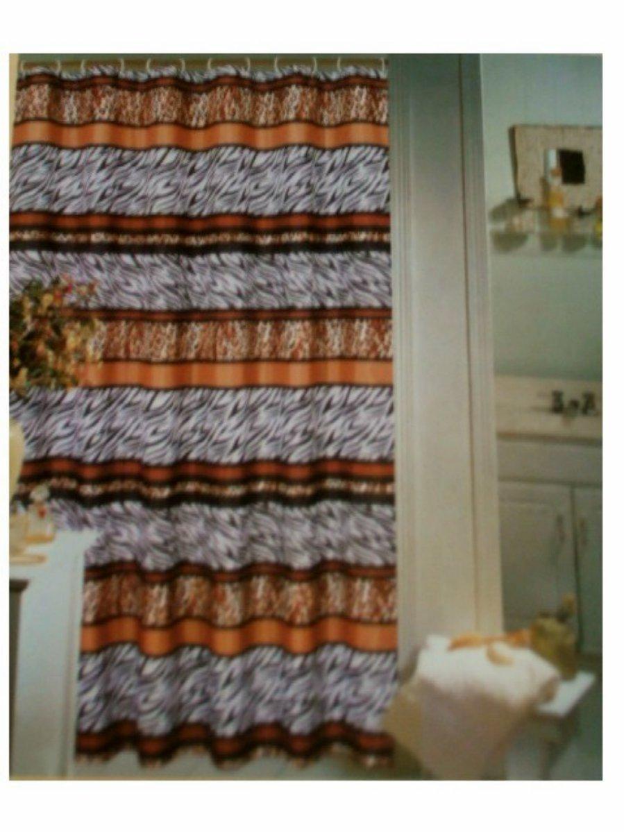 Zebra Leopard Print Fabric Shower Curtain