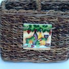 Wicker Wine Caddy Ceramic Tile