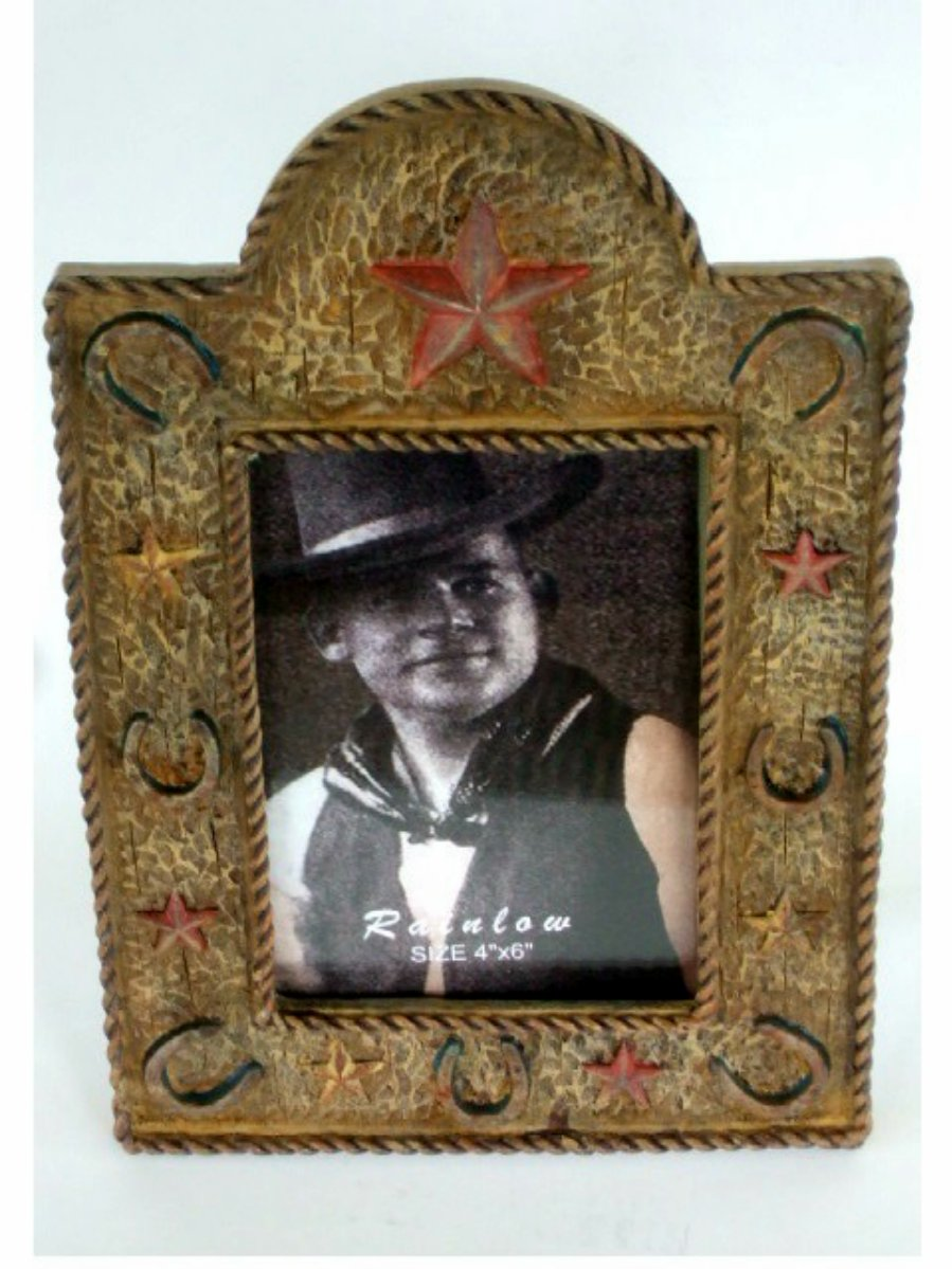 Western Stars Horseshoes Resin Photo Frame