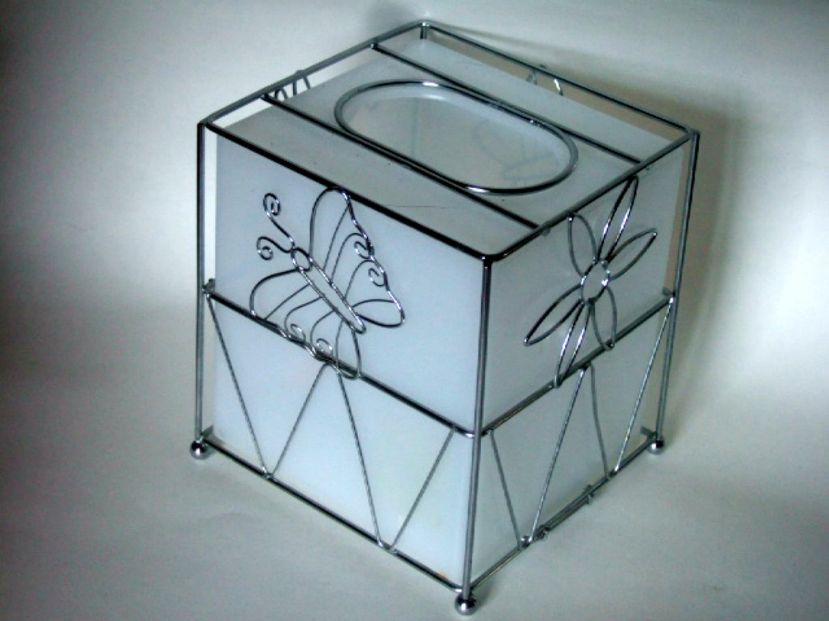Floral Tissue Box Cover Butterflies Dragonflies
