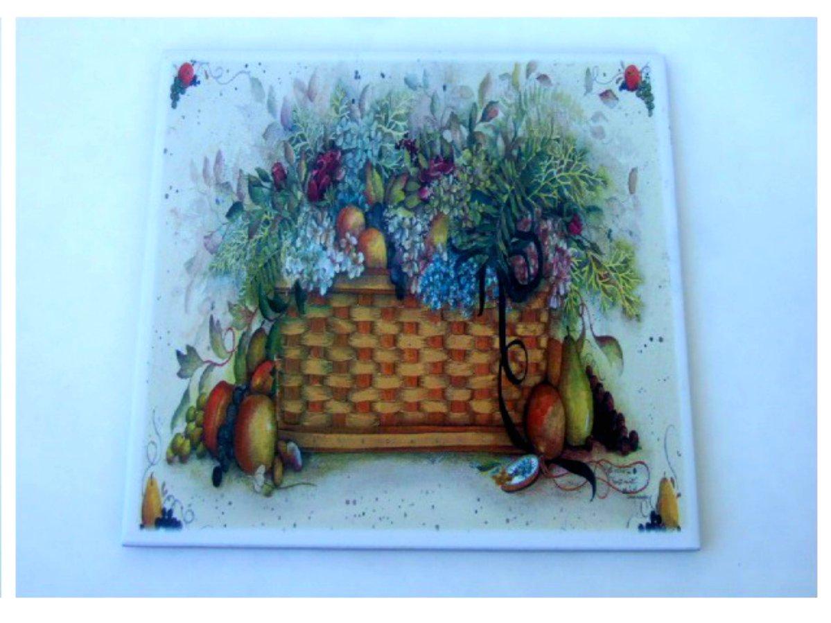 Basket of Flowers Fruit Ceramic Tile Trivet