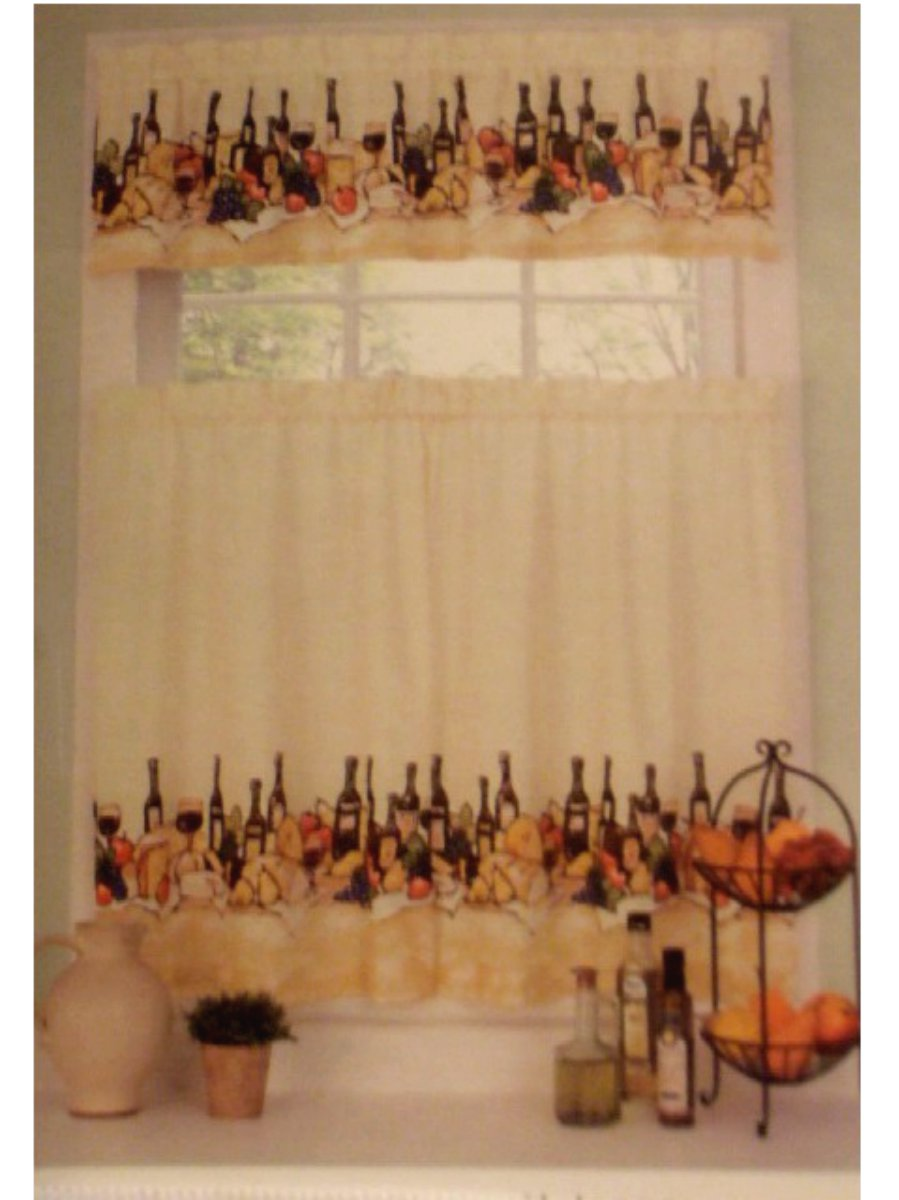 Wine Themed Kitchen Curtains