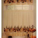 Merlot Wine Themed Kitchen Curtains Set