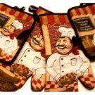 Happy Italian Chef Kitchen Linens Potholders Oven Mitts
