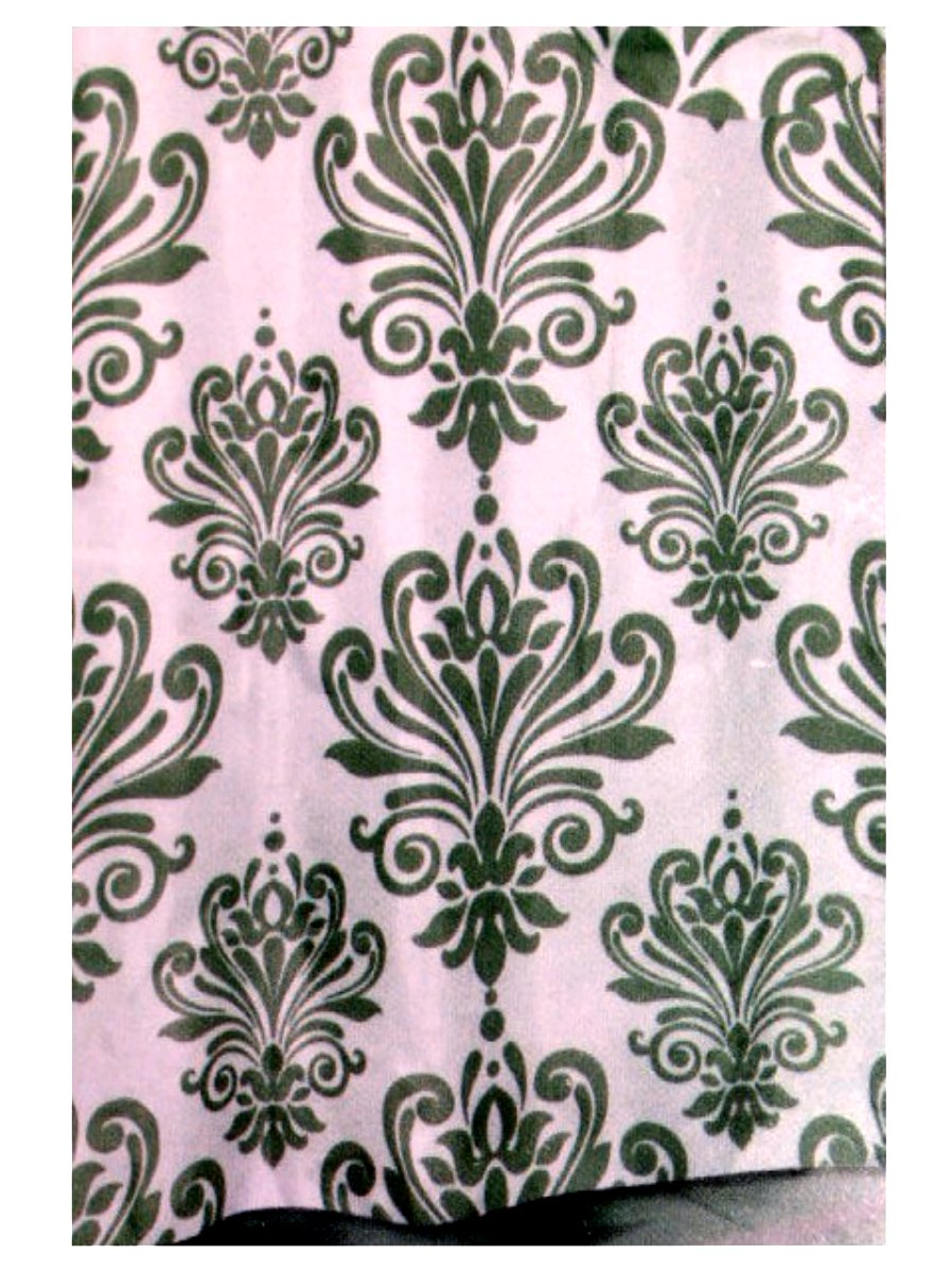 Hotel Collection Beacon Hill Sage Damask Fabric Shower Curtain