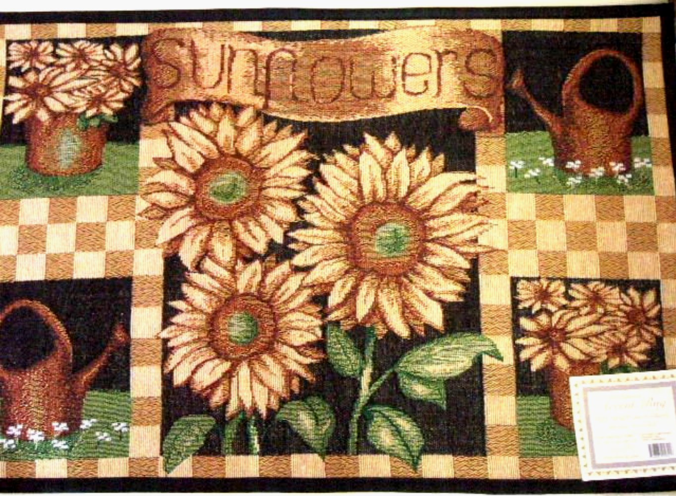 Sunflowers Watering Cans Tapestry Accent Rug