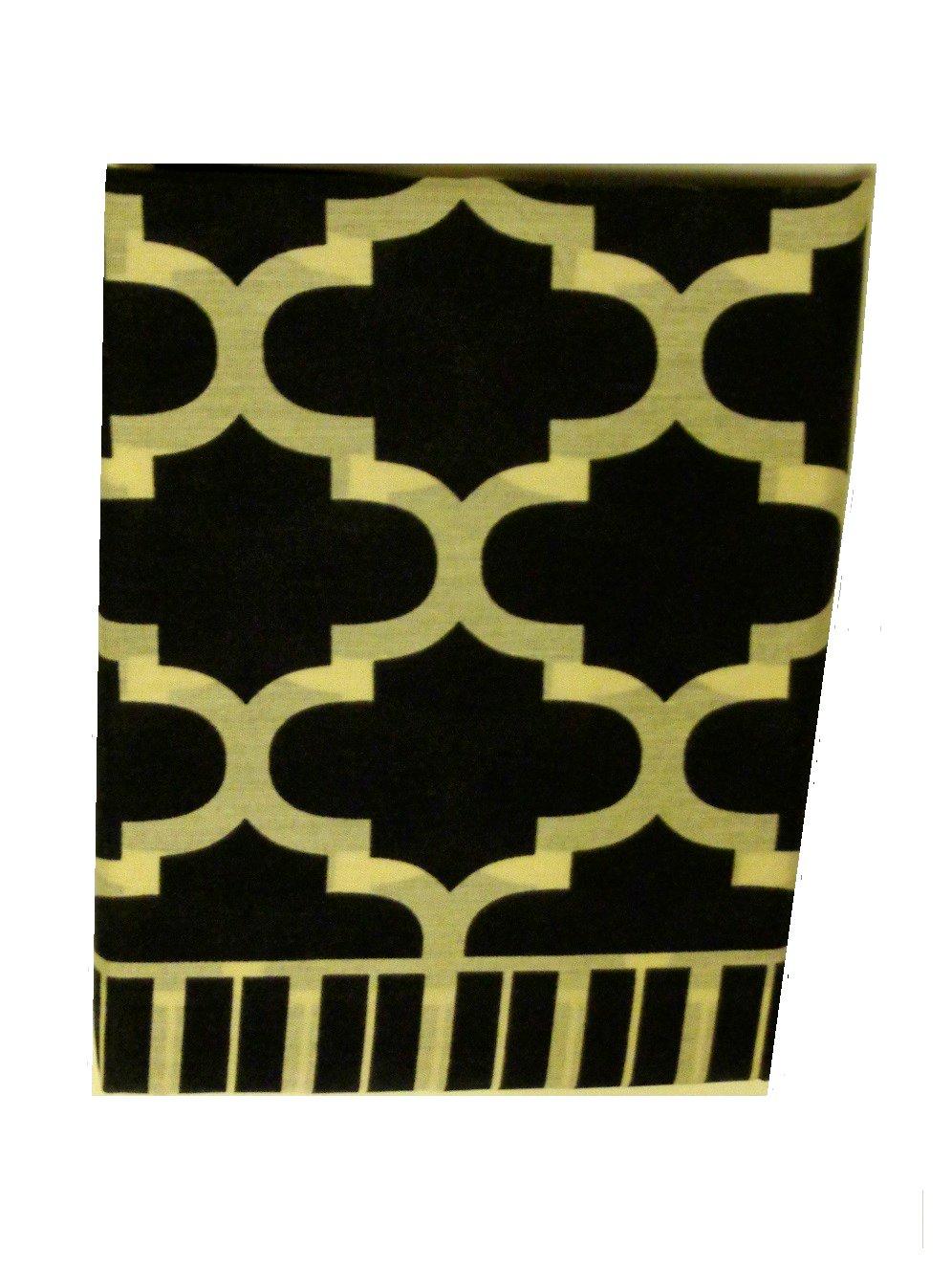 Black Ivory Fretwork Gemetric Window Treatment Set Valance Tiers