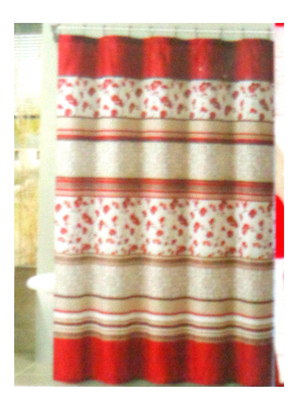Red Floral Striped Fabric Shower Curtain