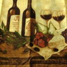 Tuscan Wine Bottles Glasses Vino Kitchen Curtains Set