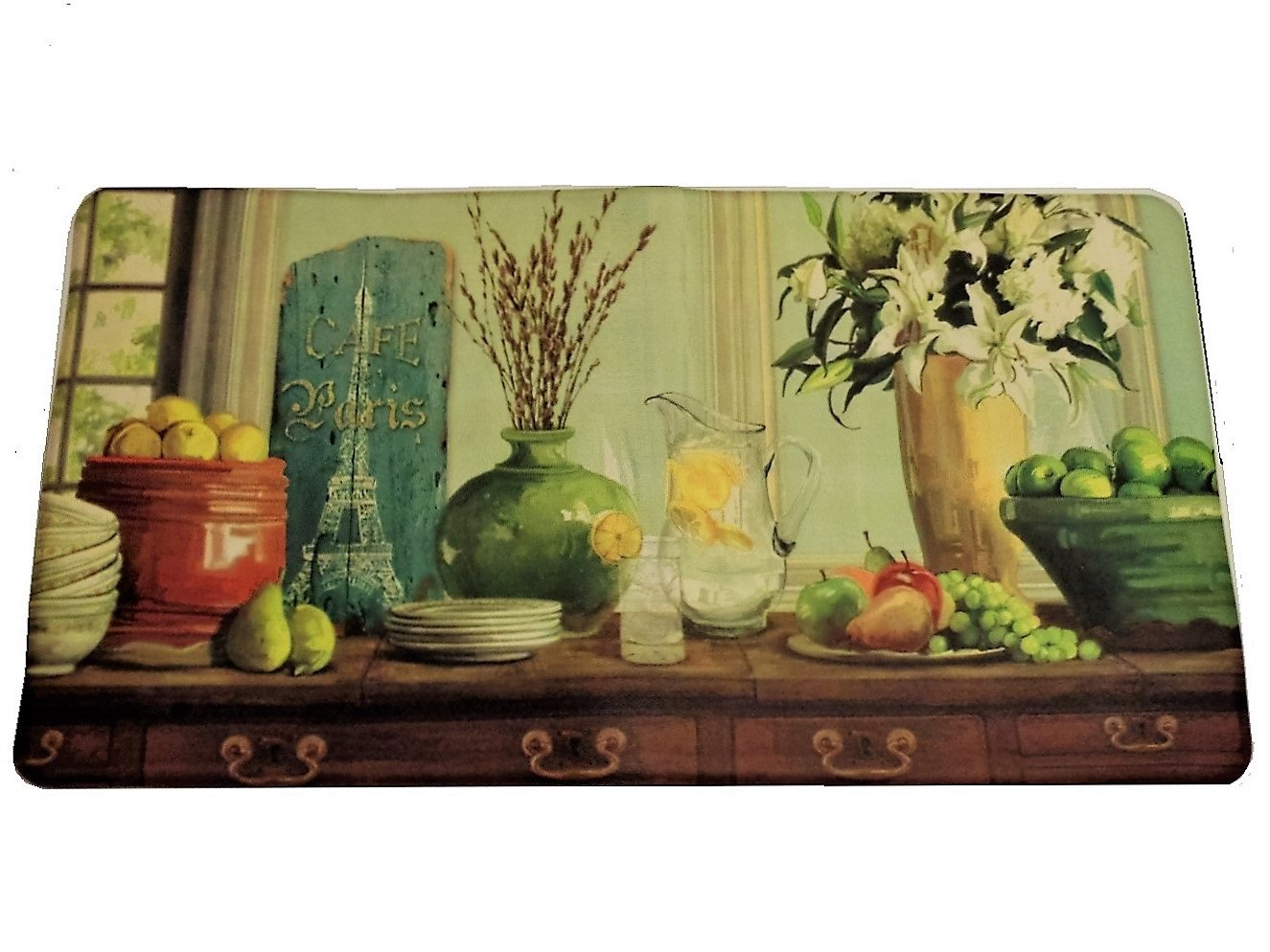 Paris Cafe Fruit Themed Kitchen Rug