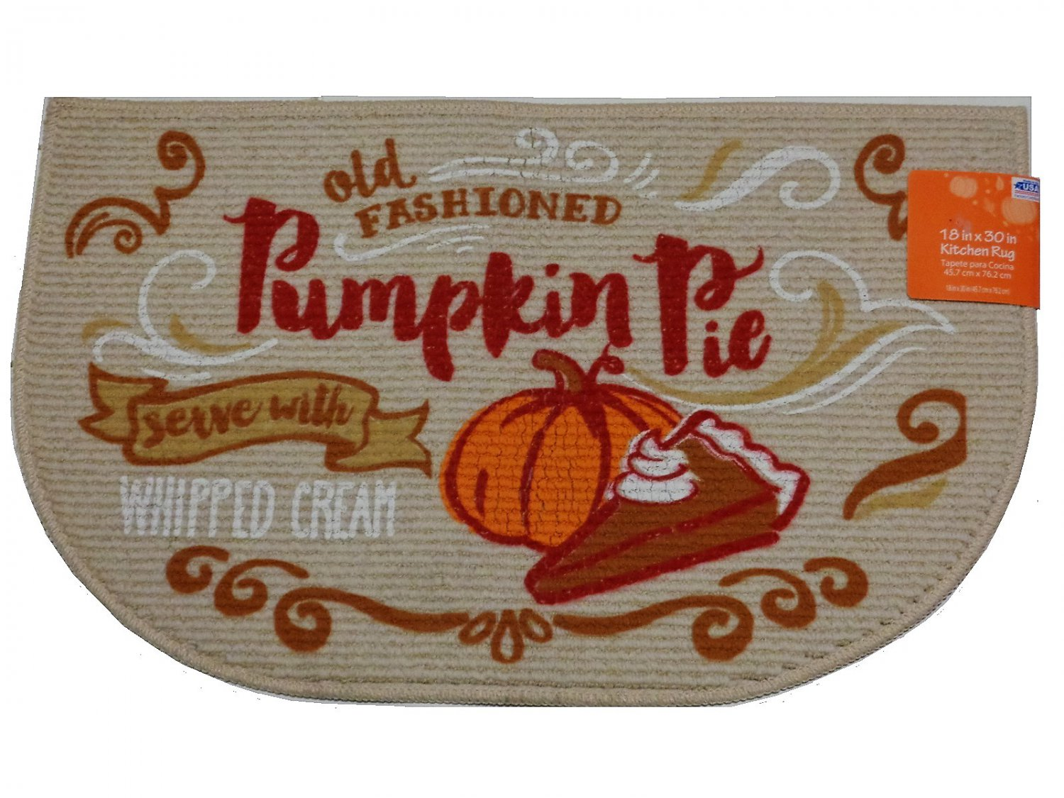 Fall Pumpkin Pie Kitchen Rug Autumn Mat