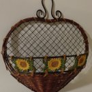 Sunflowers Floral Wall Basket  Autumn Fall Decor