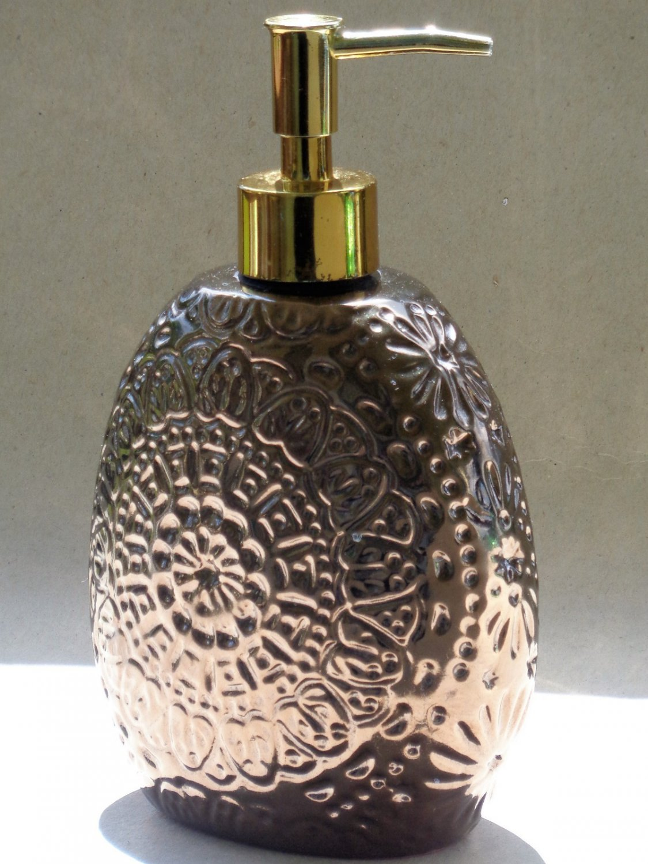 Bronze Colored Medalltion Floral Design Lotion Pump Soap Dispenser