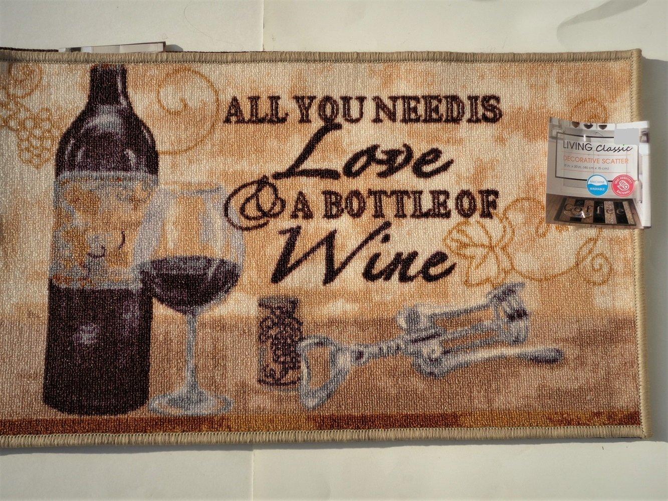Wine Bottle Kitchen Rug Inspirational Humorous Mat