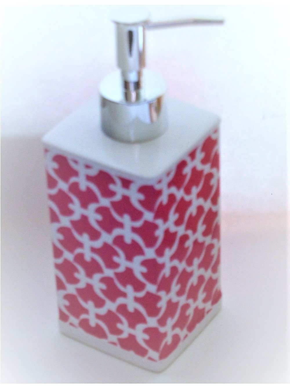 Pink Trellis Lotion Pump Soap Dispenser Ceramic
